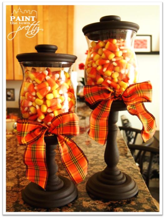 Fall Candy Corn Jars DIY crafts for Halloween http://paintthetownpretty.wordpress.com/2012/09/23/fall-candy-corn-jars/ <- Tutorial