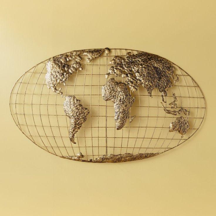 NEW Iron Metal World Globe Map 3D Declan Wall Art Decor Gold Holly & Martin SEI #SouthernEnterprises