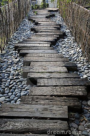 Garden Walkway Ideas pebble garden walkway design picture Railway Sleepers As Path