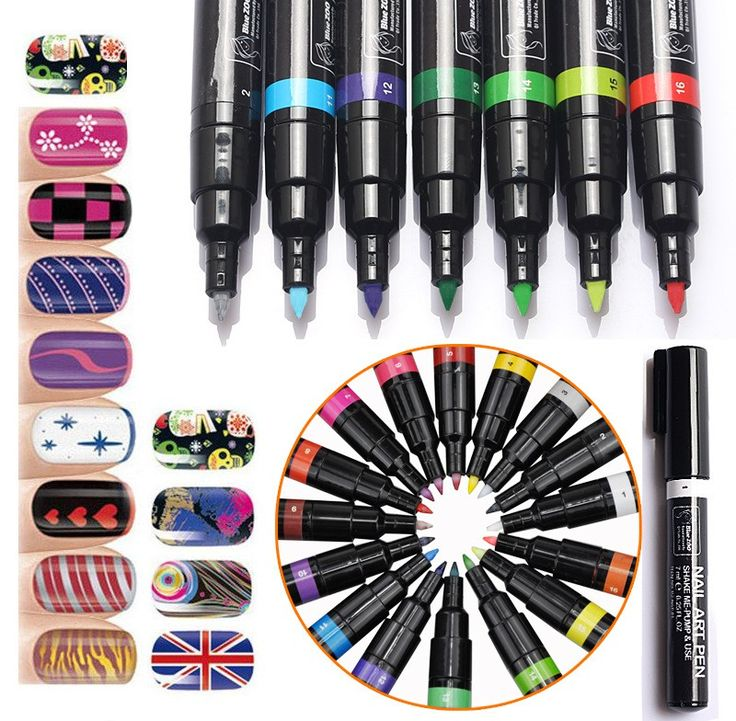 16 Colors Nail Art Pen Painting Design Tool 16 Colour Drawing Gel Draw Paint UV Polish Pen # NA0520