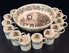 Johnson Brothers Merry Christmas Punch Bowl Cups Vintage Set Transferware