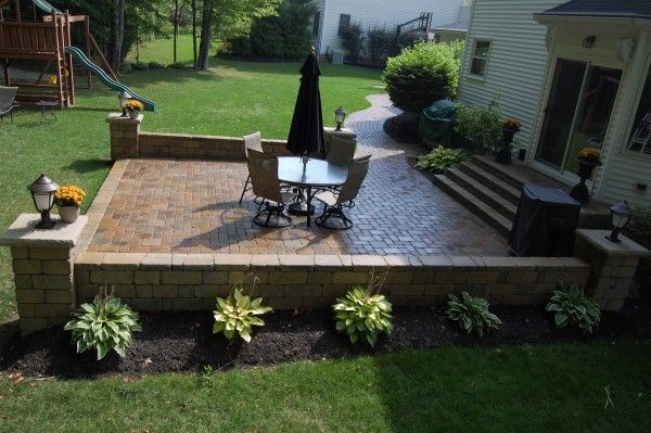 wood and brick patio brick patio and wood deck installed hoehnen