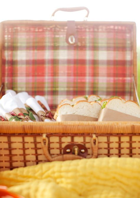 pack picnic supplies in vintage suitcases