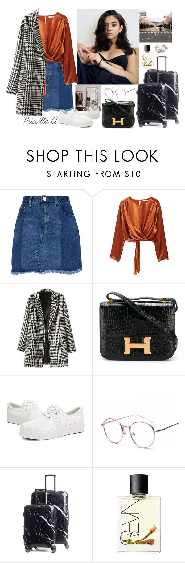 """""""Trivial Korea, Last Day(안녕)"""" by priscillaanakwah ❤ liked on Polyvore featuring MANGO, Hermès, CalPak, NARS Cosmetics and Alex and Ani"""