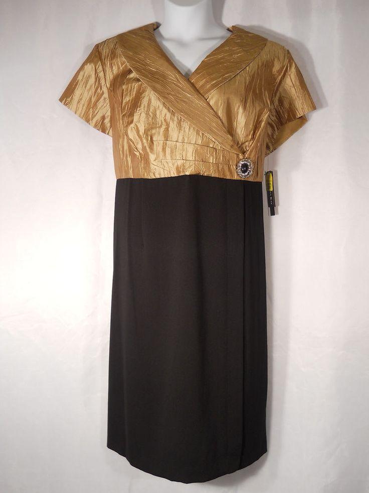 Dana Kay Wing Collar Black Gold Evening Prom Formal Holiday Dress Plus Size 22W   eBay