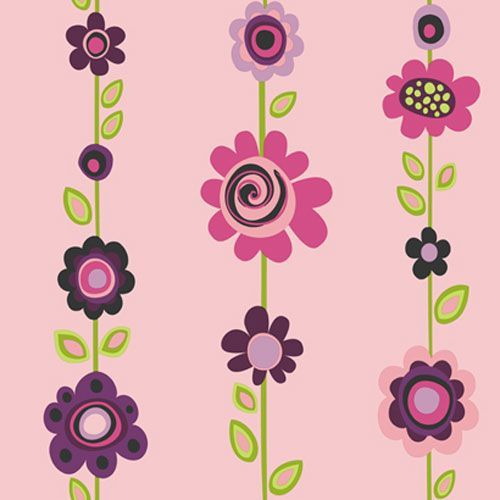Girl Power Pink Background and Plum and Lime Green 2 Floral Stripe Wallpaper