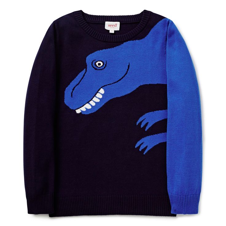 In a soft and warm intarsia style, this knit features a splash of cobalt blue and a fun dinosaur design. With rib detail on the cuffs, neckline and hem, this style is so easy to pair with jeans or chinos for a casual outfit. Made from 100% cotton, it