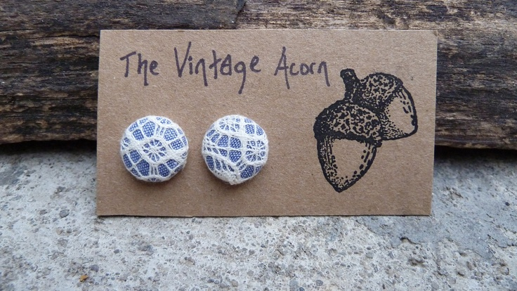 Chambray Lace Fabric Button Earrings. $7.00, via Etsy.