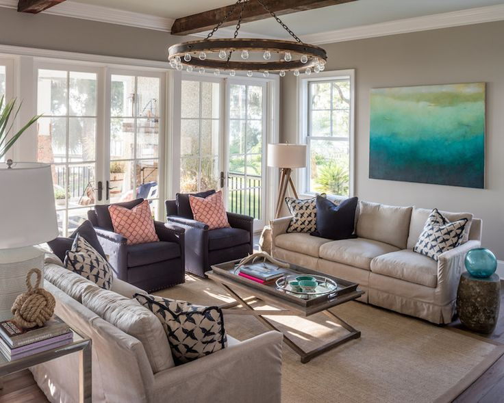 Beautiful living room features gray green ceiling painted Benjamin Moore  Gray Cashmere accented with Ralph Lauren Roark Modular Ring Chandelier ill… - Beautiful Living Room Features Gray Green Ceiling Painted Benjamin