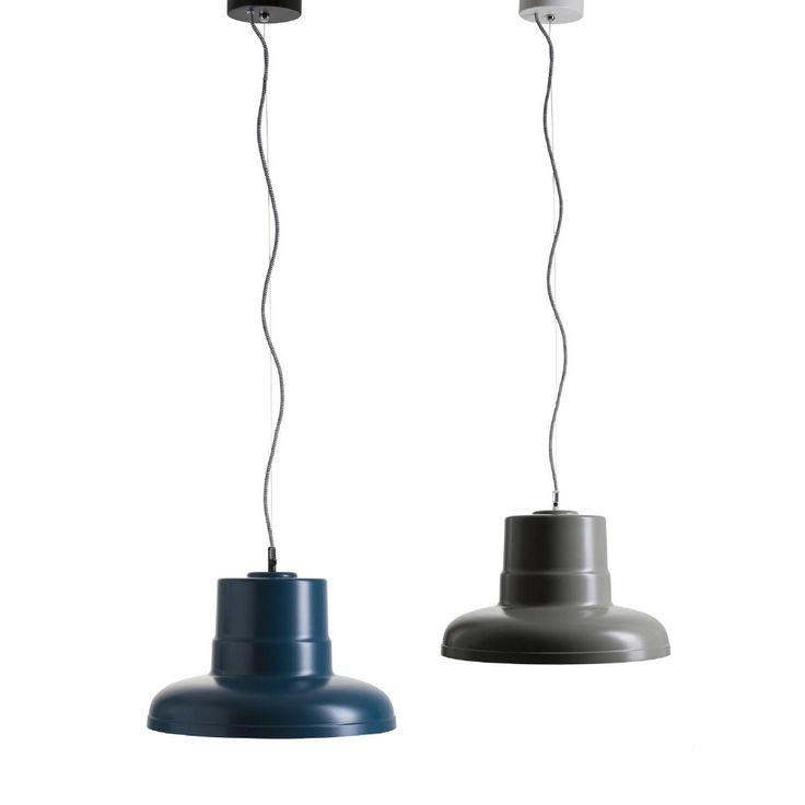 ANTILLA Metallschirm Pendelleuchte im Industrie-Stil mit dem Durchmesser von 40,4 cm und in den Farbenvarianten schwarz, weiß, ocean, grau.