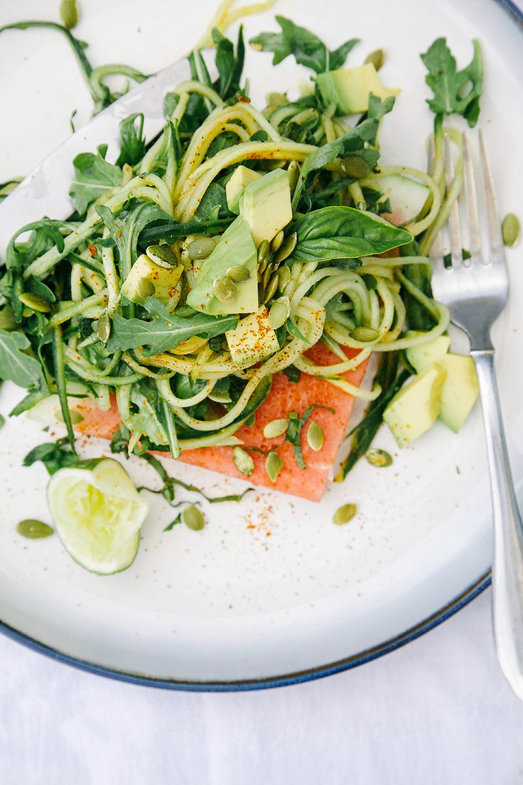 Chili lime cucumber noodles with salted watermelon is a perfect summer lunch. This vegan, gluten-free, and grain-free recipe is light but satisfying.