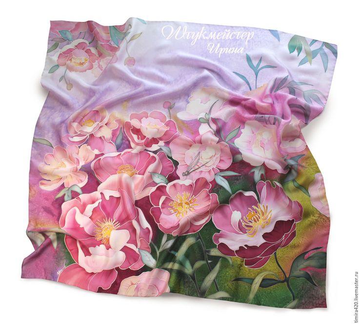 """Купить Батик платок """"Пионы"""" - розовый, пионы, розовые пионы, цветочный принт, батик платок"""