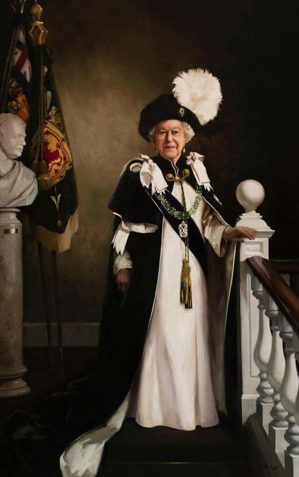 A new portrait of Her Majesty has been commissioned by the Royal Company of Archers, The Queen's Bodyguard for Scotland, in celebration of her 90th birthday year!   HM is wearing the robes of The Most Ancient and Most Noble Order of the Thistle in this full-length portrait, which was painted by artist Nicola Jane (Nicky) Philipps from a sitting with HM at Windsor Castle this past March.