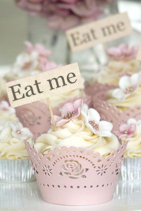 """Eat Me"" flags for cupcakes ... Alice Tea Party? Rachelles Beautiful Bespoke Cakes"