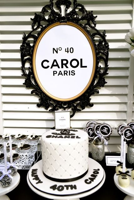 Stunning cake at a Chanel girl birthday party!  See more party ideas at CatchMyParty.com!