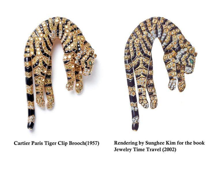 "Sunghee Kim on Instagram: ""Cartier pantera brooch. Rendering by Sunghee Kim for the book "" Jewelry Time Travel"" 2002. #rendering #jewelry #jewelrydesigner #sungheekim"""