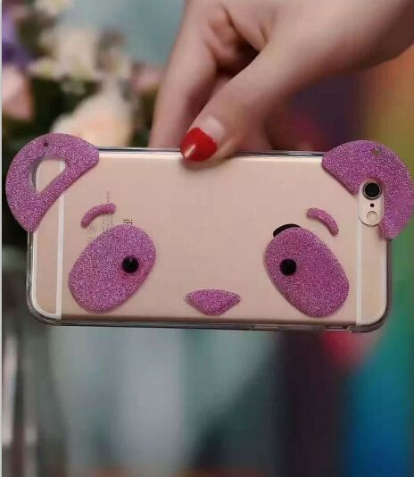 Cute And Girly Glitter Panda Style Clear Iphone 6 & 6s Case