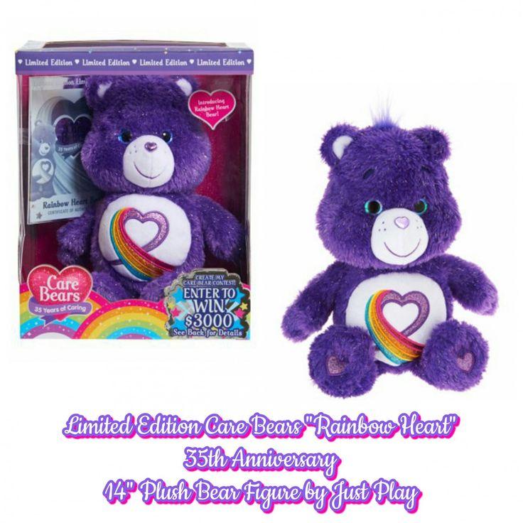Limited Edition 2017 Care Bears Rainbow Heart Anniversary Plush Bear Figure By Just Play