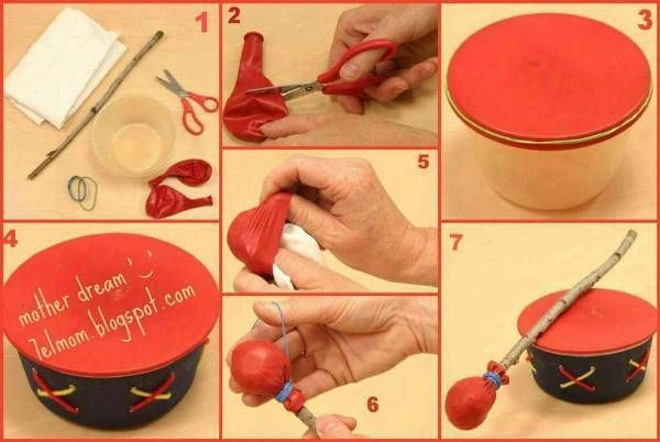 This DIY easy toy drum is simple to make but quite fun for kids. To make this lovely toy drum, you need a plastic cup, a piece of cloth or paper, scissors, rubber bands, a wooden stick, and balloons. Here is how it goes. (Photo credit: fabdiy.com)  Cut the balloons in half. Cover the cup with the balloon and secure the balloon with a rubber band. Paint the cup and decorate it with rubber bands. (optional) Take another balloon and cut it in half. Wrap the cloth or paper on the stick and wrap…