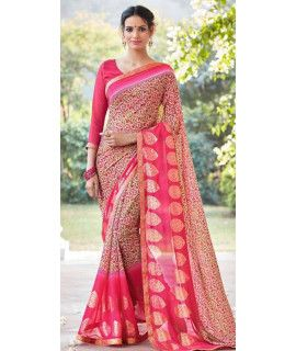 Attractive Pink And Multi-Color Chiffon Saree.