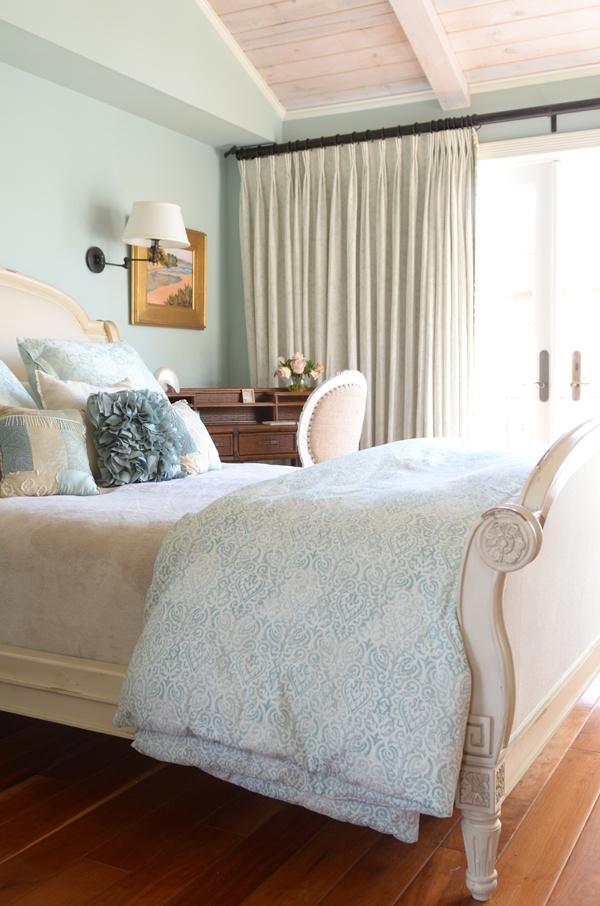 Balboa Island beach house, interior design and decorating for a balboa beach summer home. Color palette of blue, white, and wood tones. Newport Beach bedroom, beach decor.