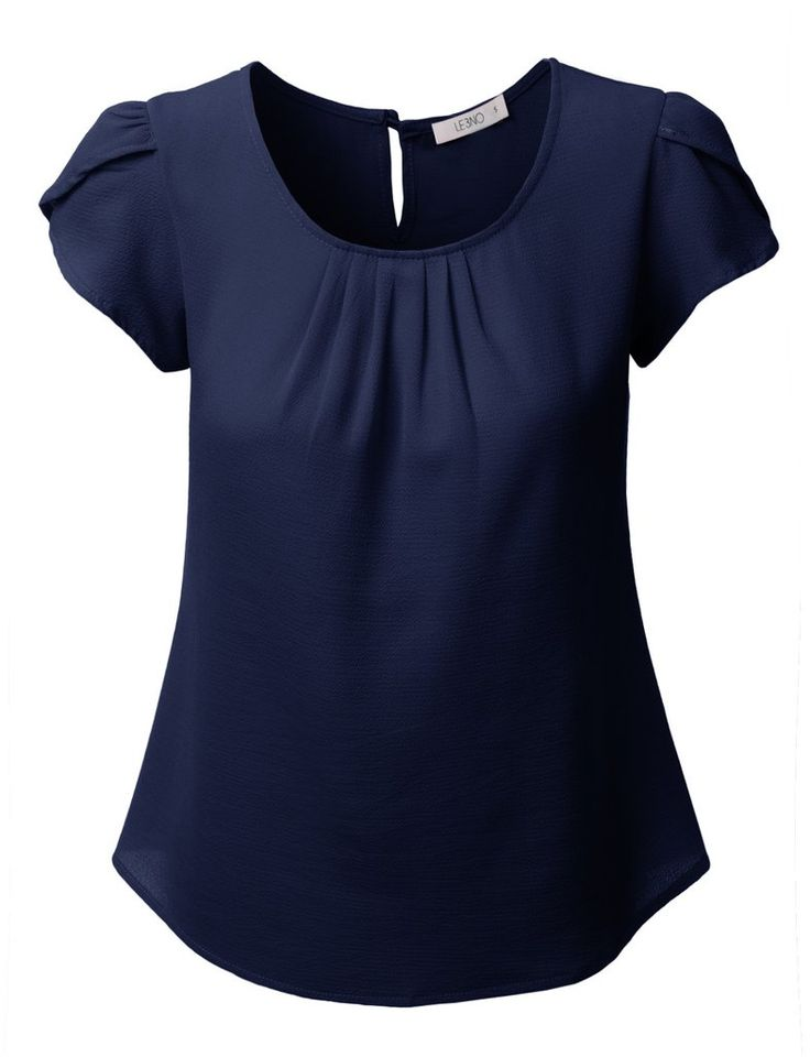LE3NO Womens Chiffon Pleated Cap Sleeve Blouse Top