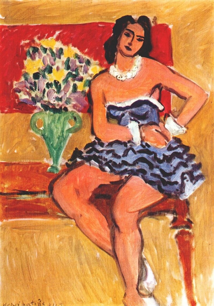 books0977: Dancer in Blue Tutu (1942). Henri Matisse (French, 1869-1954). Oil on canvas. In 1942, Matisse would eliminate extraneous details that characterized his depictions of Odalisqes in the 1920s. Instead, he turned his focus more exclusively towards the essential components of form and color. The present work encapsulates this new direction of his art, with its sharp tonal color contrasts and confident, linear clarity.