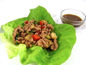 Low Carb Chicken Lettuce Wraps…Just like In Your Favorite Asian Restaurant!  This dish is great as a appetizer or light main course lunch or dinner. One of these tantalizing wraps has 62 calories, 2 grams of fat and 2 Weight Watchers POINTS PLUS.