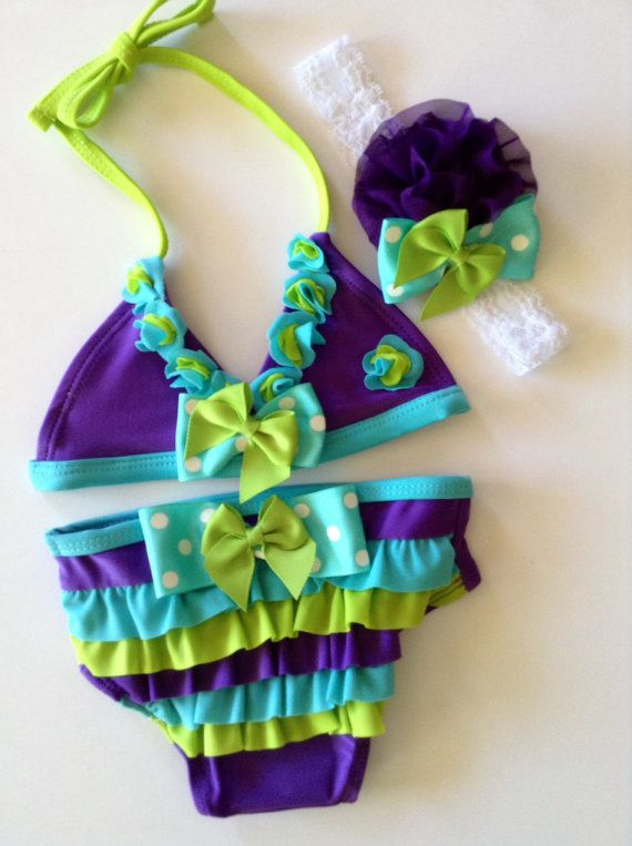 Baby Girl Swim Suit two piece bikini purple teal mint lime green matching headband with bows on Etsy, $35.50