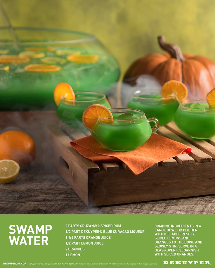 Hosting a spooky soirée? Delight your Halloween guests with a batch of Swamp Water. Made with Rum, Blue Curacao and Orange Juice, this punch is anything but evil.