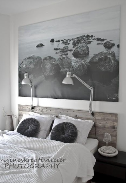 Love the his and her lights as well as the huge picture--would be beautiful over the headboard Ry built me ♥