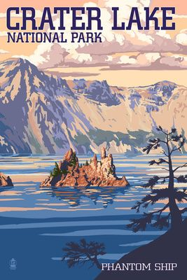 Crater Lake National Park, Oregon - Shoreline & Sunset - Lantern Press Poster