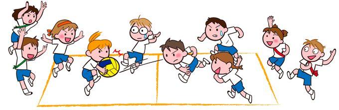 ドッジボール 試合に白熱する子どもたち イラスト素材