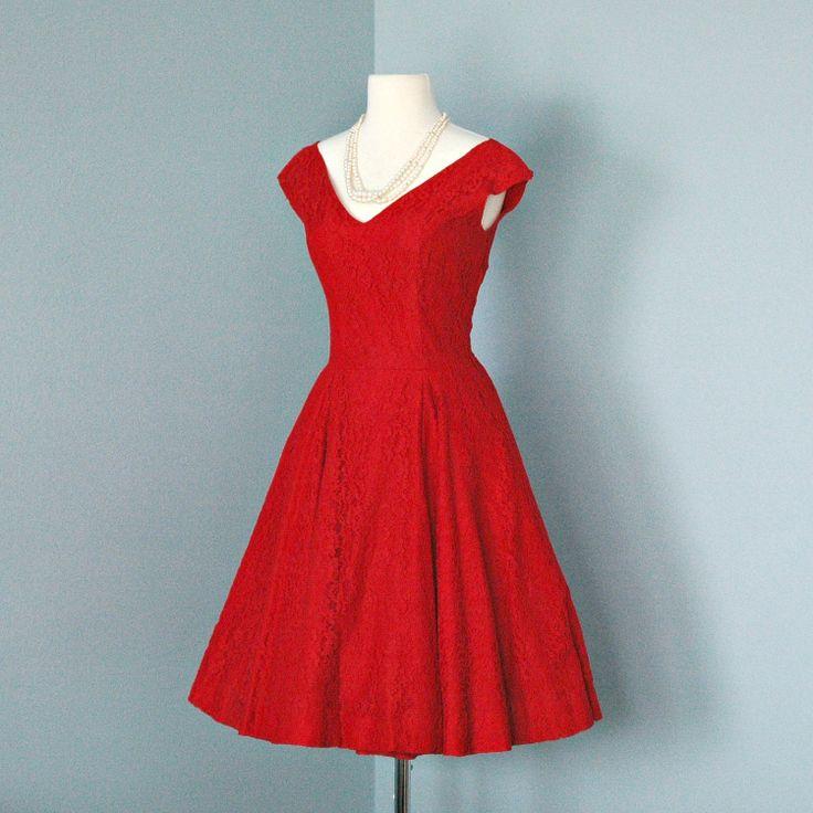 Vintage Valentine Red Lace Cocktail Dress...Beautful 1950s Valentine Red Lace Cocktail Dress Party Dress. $135,00, via Etsy.