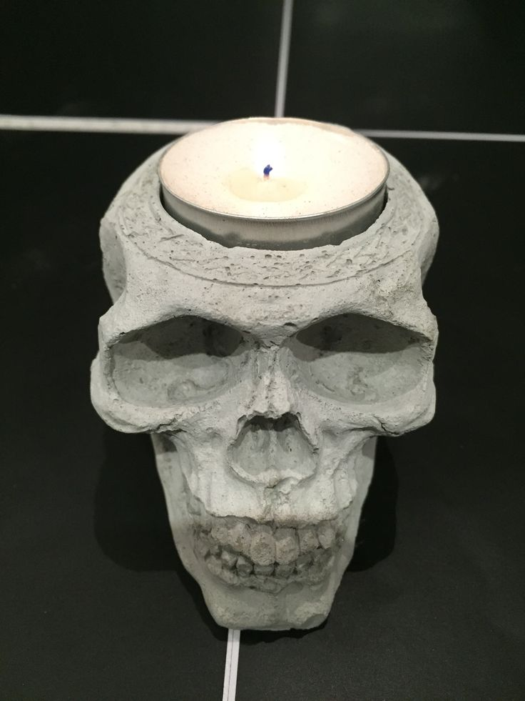 Halloween 2015 Concrete Skull with Tealight Candle #concretedecor #halloween #skull