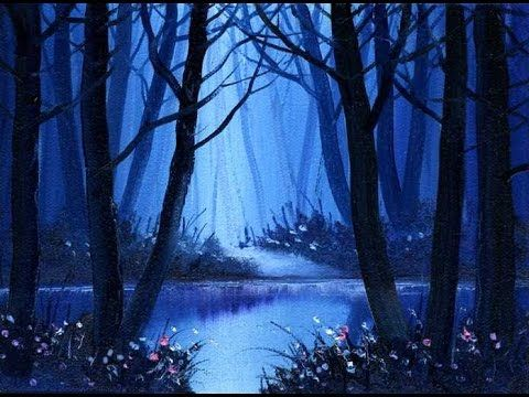 Deep Blue Woods (5x7) / Small & Simple Oil Painting Sketch - YouTube