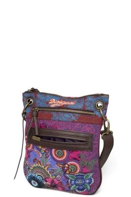 Bandolera Martina Desigual women's bag. Tote style bag with pink lurex highlights applied to a floral, galactic world.
