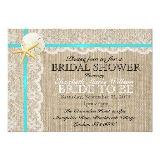 Rustic Vintage Burlap Beach Wedding Bridal Shower Personalized Announcement