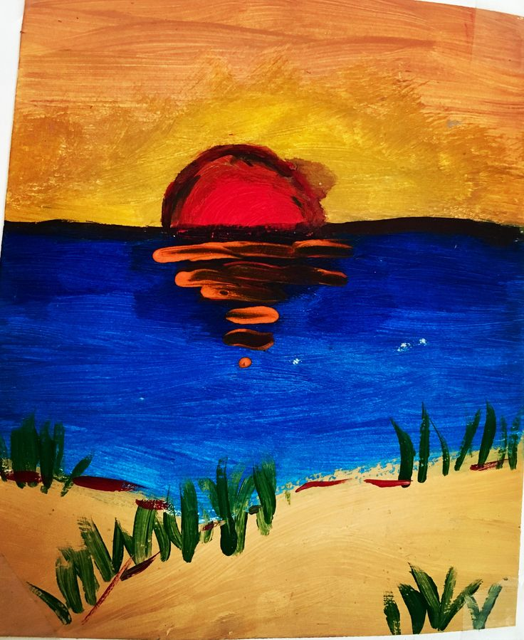 Quick Beach Sunset Acrylic Sketchbook Painting by NyxStudioArt