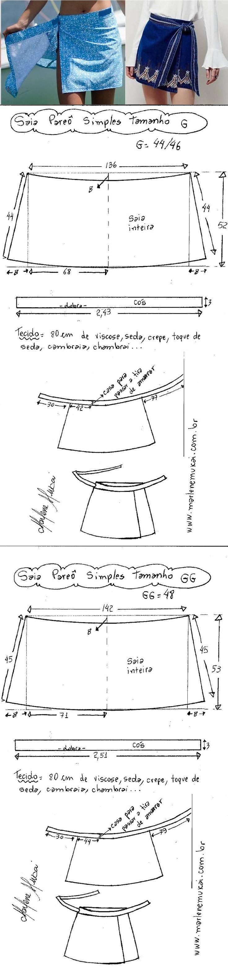 DIY – molde, corte e costura – Marlene Mukai. Saia envelope fácil simples. Optei para fazer a modelagem desta saia sem costuras laterais, inteira. Esquema de modelagem do PP ao EXGG. http://www.marlenemukai.com.br/2016/11/09/saia-envelope-facil-simples/
