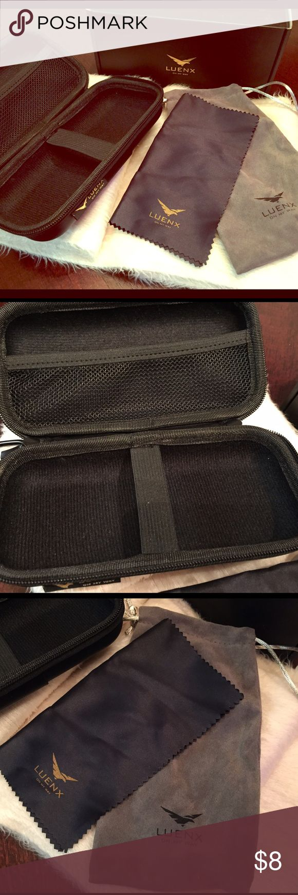 "Sunglasses Case Luenx Sunglasses Case Luenx, includes case, bag for glasses & wipe for glasses.  Never been used but does not include ""sunglasses."" Has hook to hook onto backpack or any other bag. luenx Accessories Glasses"