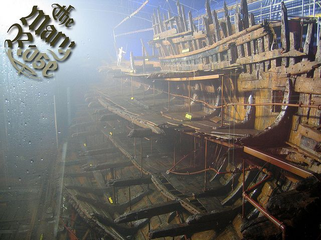 The Mary Rose -- still drying out in Portsmouth, England.  The Mary Rose was named for Henry VIII's sister and was a favourite among the ships in his navy.