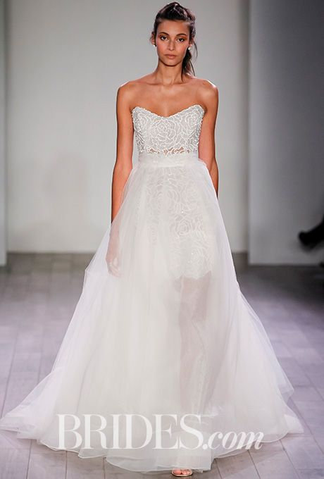 Alvina Valenta - Fall 2016. Marbled jacquard ball gown with a pleated skirt and in seam pockets scoop neckline with a low back and encrusted jeweled belt at the natural waist, Alvina Valenta