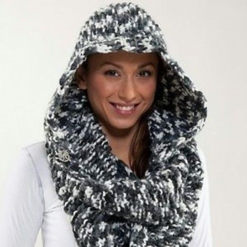 LULULEMON Hickey Hider Scarf O/S Gray White Charcoal Knit Head Wrap #Lululemon #Scarf