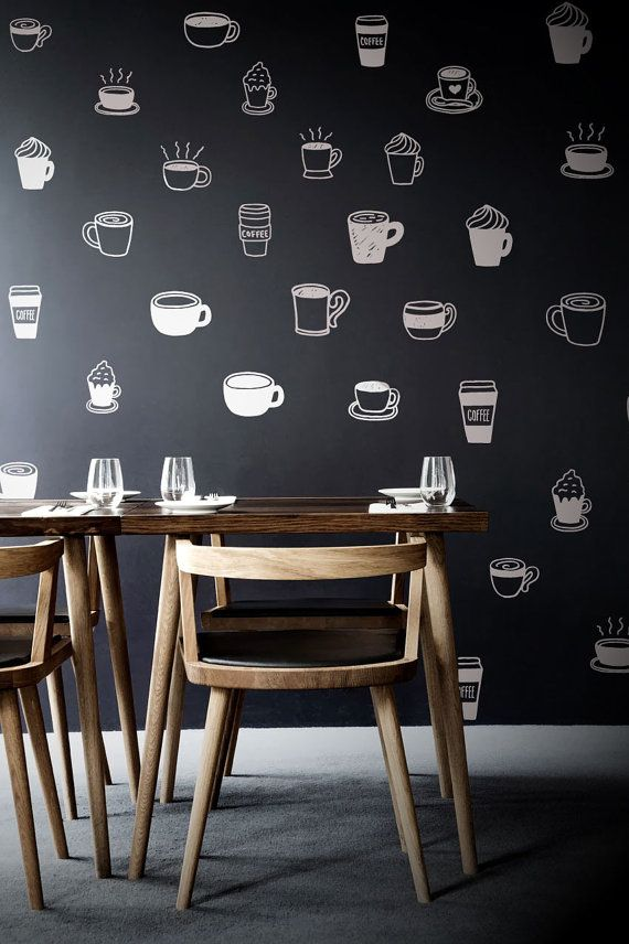 This is such an adorable temporary wallpaper idea for the kitchen. These happy little coffee cups are as wonderfully cheering as a shot of espresso... and