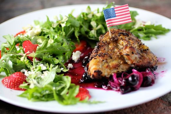 #Patriotic Grilled Chicken, Savory Blueberry Compote, Strawberry Arugula Salad