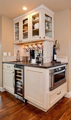 corner counter. love the coffee bar and wine wrack. it'd just be nice to have these not taking up counter space near the stove & oven.