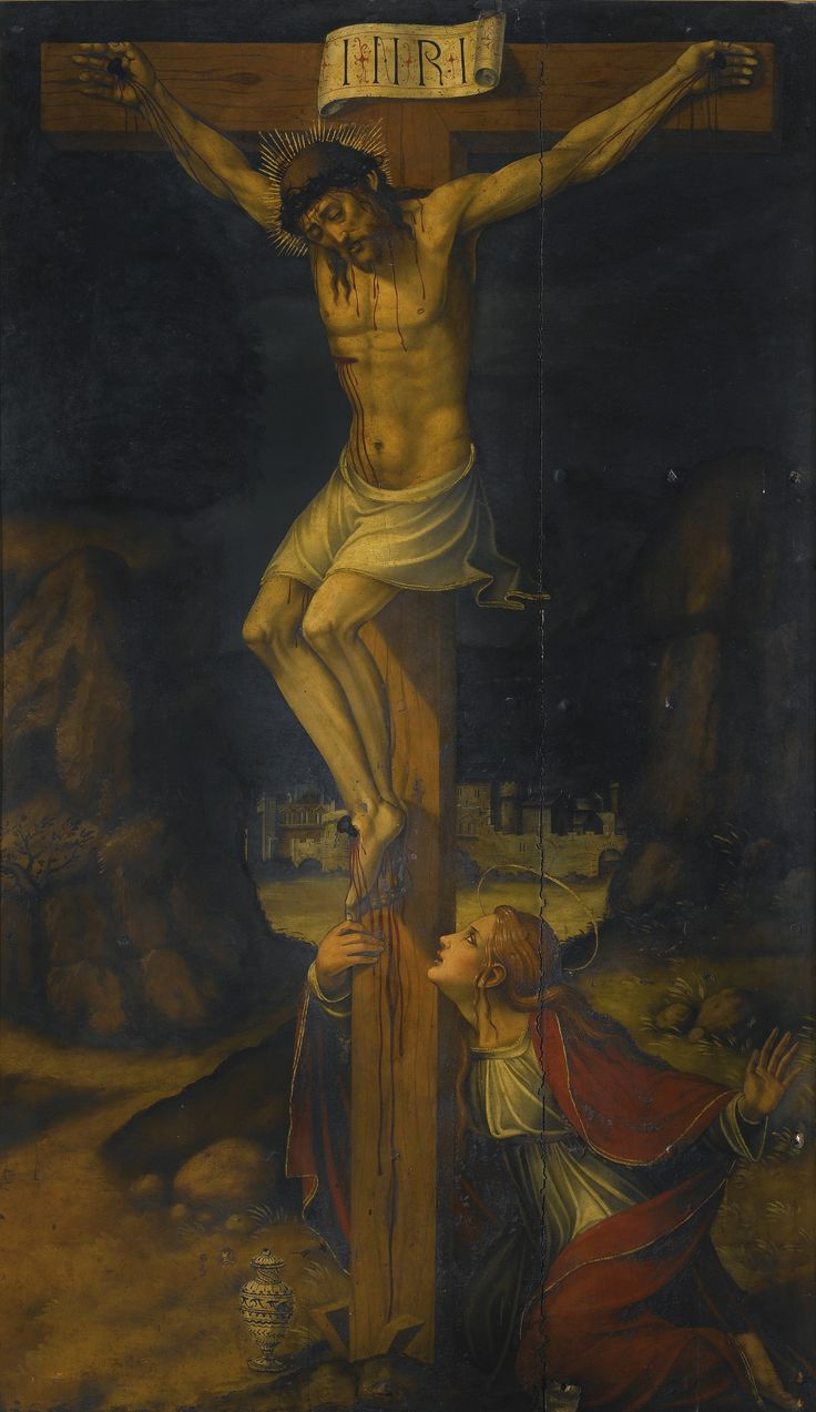 Valencian School, first half of the 16th century CALVARY, WITH MARY MAGDALENE AT THE FOOT OF THE CROSS oil on panel 187.8 by 111.2 cm.; 73 7/8  by 43 3/4  in.: