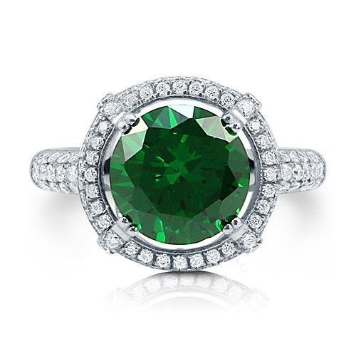 Women's New 4.5 Carat Round-Cut Simulated Emerald CZ 925 Sterling Silver Ring 9 #CocktailRingSimulatedEmerald #CocktailRing Size 9 Only $99