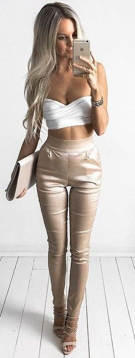 White Bandeau Top + Bright Nude Pants                                                                             Source